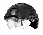 Lancer Tactical Basic Plastic Fast Helmet with visor - BLACK