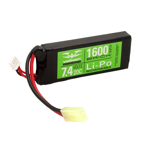 Valken Energy Li-Po 7.4v 1600mAh 20C Mini Brick