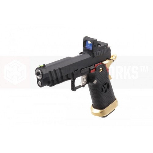 "Armorer Works Custom HX2601 ""Competitor"" Hi-CAPA Gas Blowback Airsoft Pistol - Red/Gold Trim"