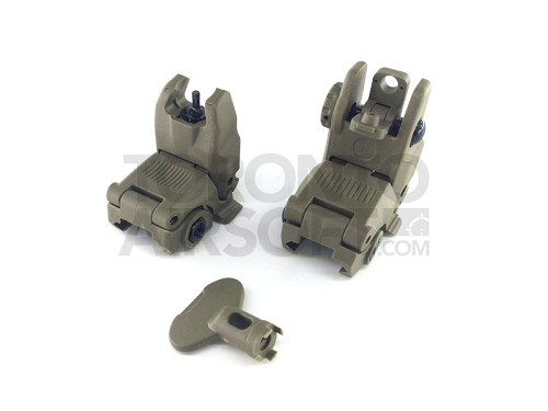 A.C.M. MBUS style flip up sight set (front and back) - DARK EARTH